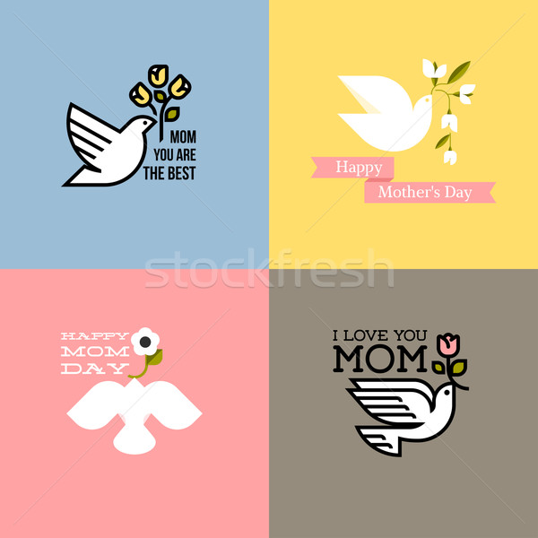 Flat style happy mothers day cards with dove, pastel colored spring flowers and greeting text messag Stock photo © ussr