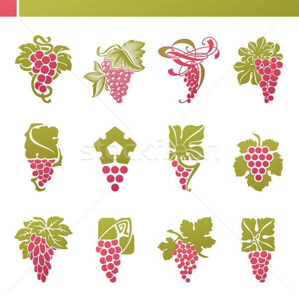 Stok fotoğraf: Kırmızı · üzüm · yeşil · yaprak · vektör · logo · şablon