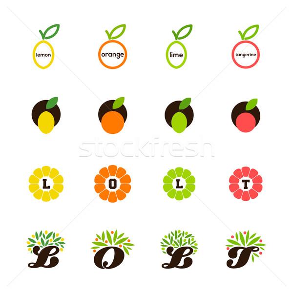 Stock photo: Lemon, orange, lime, tangerine, grapefruit. Set of design elements