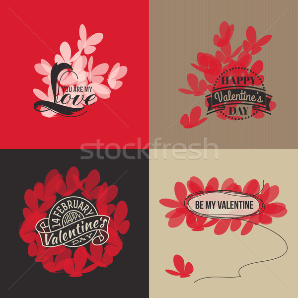 Valentines day cards with butterflies. Vector illustration Stock photo © ussr
