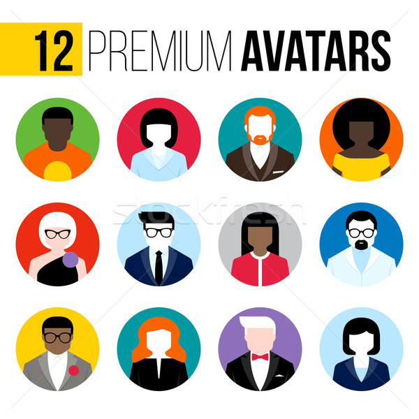 Modern flat vector avatars set. Colorful male and female icons Stock photo © ussr