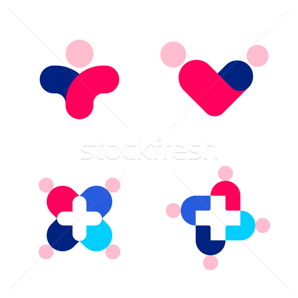 Stock photo: Human silhouettes and cross. Medicine and health care logo