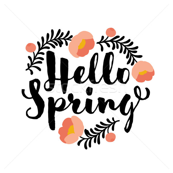 Cute hello spring lettering and coral peony flower Stock photo © ussr