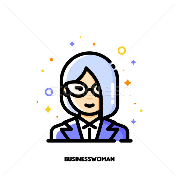 Female user avatar of businesswoman. Icon of cute girl face Stock photo © ussr