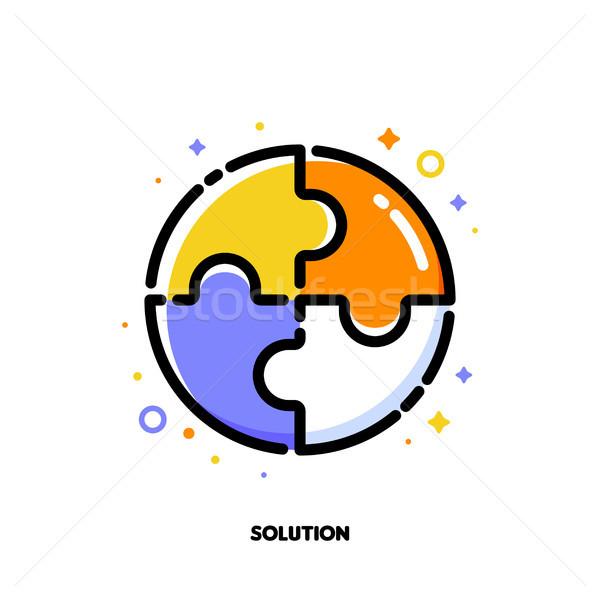 Icono rompecabezas negocios solución estilo Foto stock © ussr