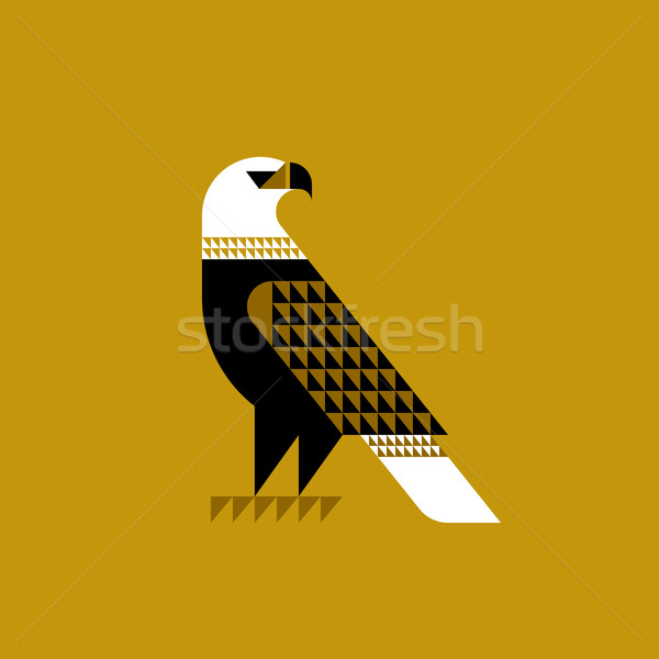 Stock photo: Decorative falcon on ochre background