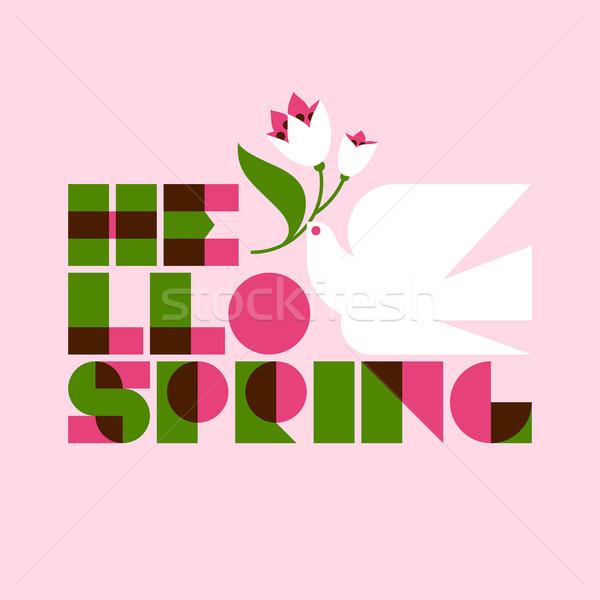 привет весны белый голубя цветок розовый Сток-фото © ussr