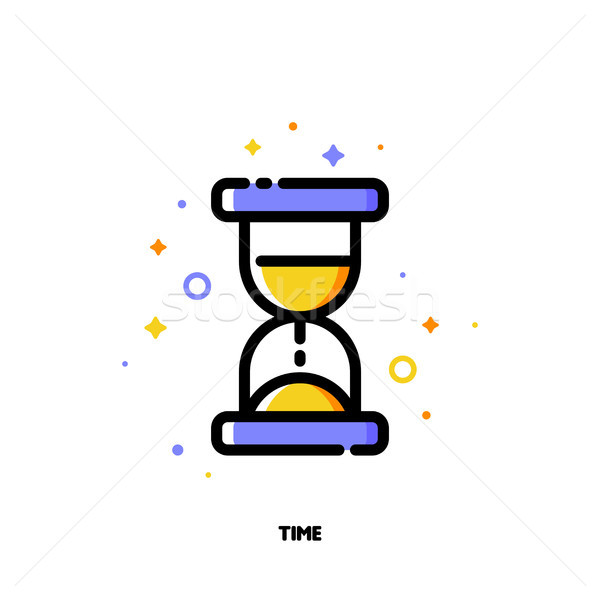 Icon of hourglass for business time concept. Flat filled outline Stock photo © ussr
