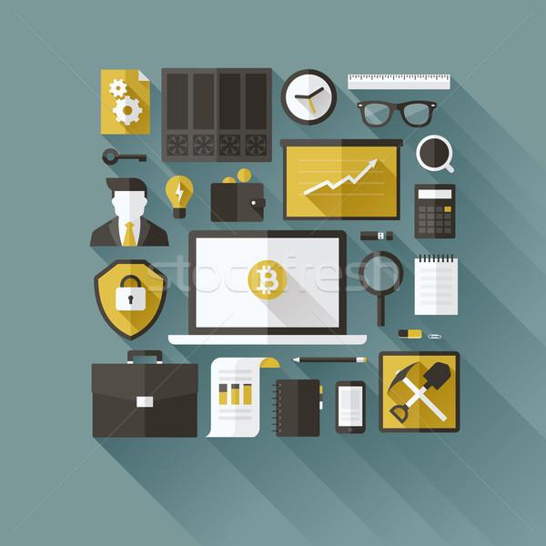 Stok fotoğraf: Bitcoin · modern · vektör · dizayn · elemanları · iş
