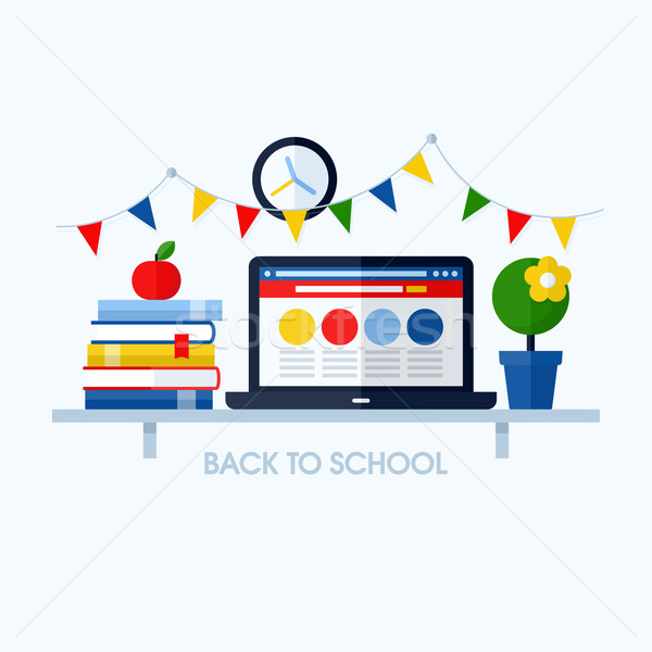 Stock photo: Back to school flat vector illustration with desk and school supplies. Creative design elements for