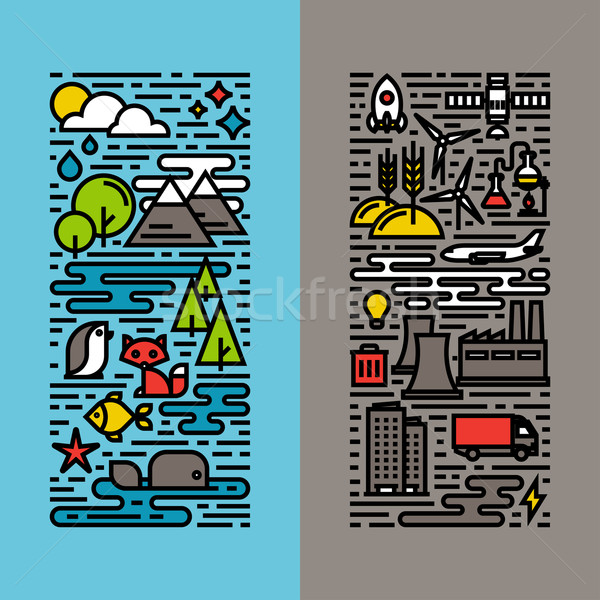 Green, ecology and environment flat line icons set Stock photo © ussr