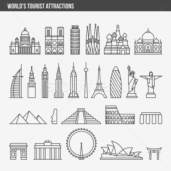 Flat line vector illustration icons set and logos of top tourist attractions Stock photo © ussr