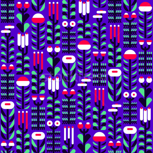 Flat style seamless floral pattern with wild herbs and flowers Stock photo © ussr