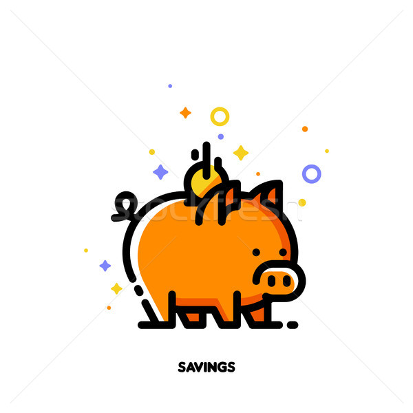 Icon of piggy bank and falling coin for budget or money savings  Stock photo © ussr