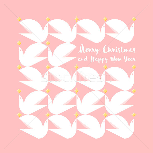 Christmas card with holiday greetings and pattern of flying pigeons Stock photo © ussr