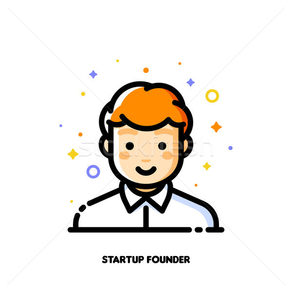 Male user avatar of startup founder. Flat icon of cute boy face Stock photo © ussr