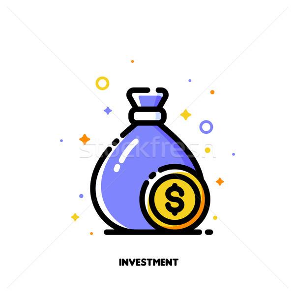 Ikon pénz táska dollár érme beruházás Stock fotó © ussr