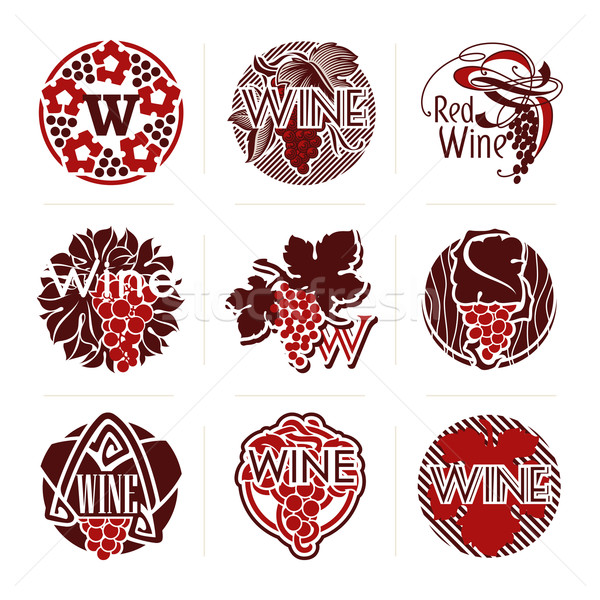 Set of wine labels and badges. Vector labels' templates for design. Stock photo © ussr