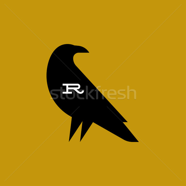 Raven. Fat style vector logo mark template or icon Stock photo © ussr