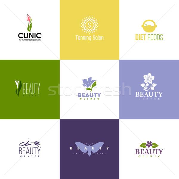 Stockfoto: Ingesteld · schoonheid · logo · sjablonen · iconen · bloemen