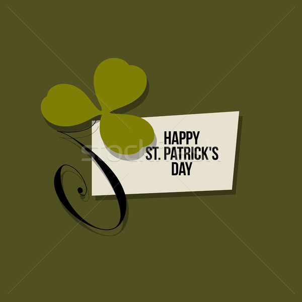 St. Patrick's Day greeting card. Vector illustration with clover leaf Stock photo © ussr