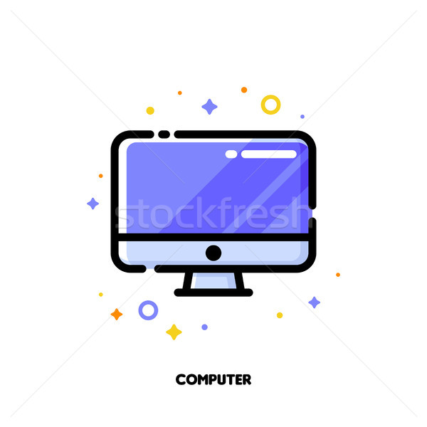 Icon of desktop or pc for office work concept. Flat filled outline Stock photo © ussr