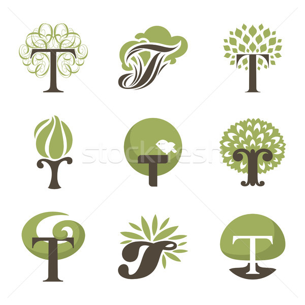 Tree. Collection of design elements. Vector logo templates set. Stock photo © ussr