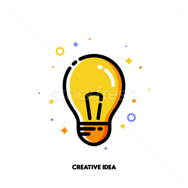 Icon with light bulb as creative idea symbol for right solution Stock photo © ussr