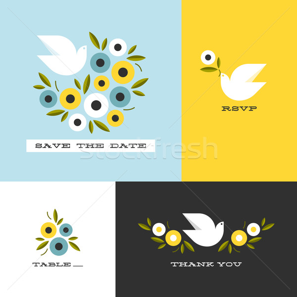 Dove and floral wreath of anemones. Flat style vector design elements Stock photo © ussr