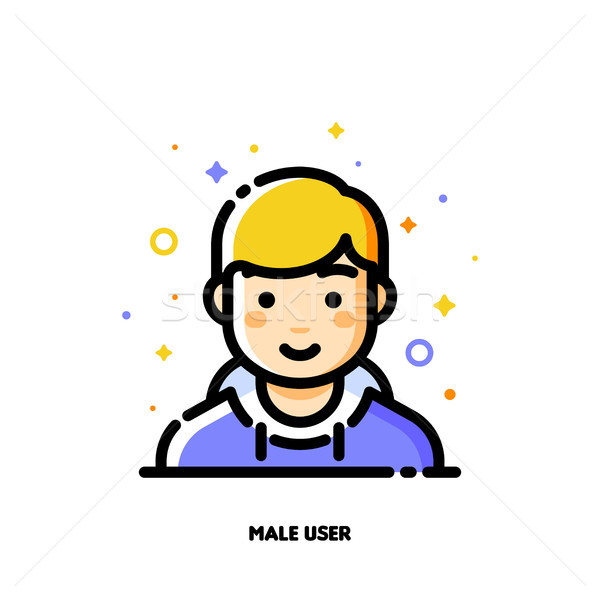 Male user avatar. Icon of cute boy face. Flat filled outline Stock photo © ussr