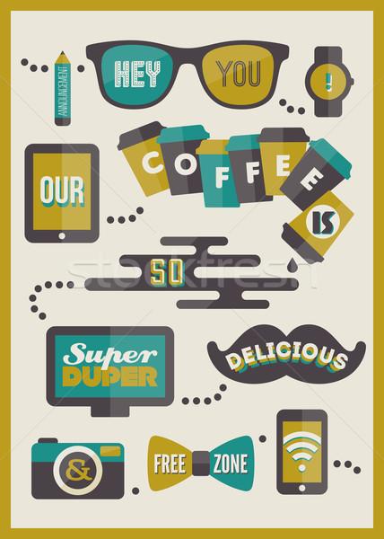 Foto stock: Café · menu · conjunto · projeto · elementos