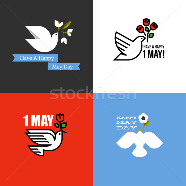 Flat style card for holiday of International Workers Day on 1 May with dove and flowers Stock photo © ussr
