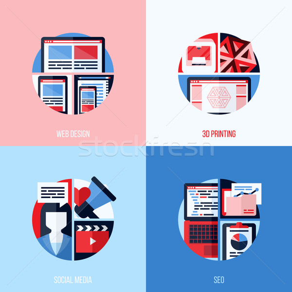 Modern flat vector icons of web design, 3D printing, social media, SEO. Creative concepts for websit Stock photo © ussr