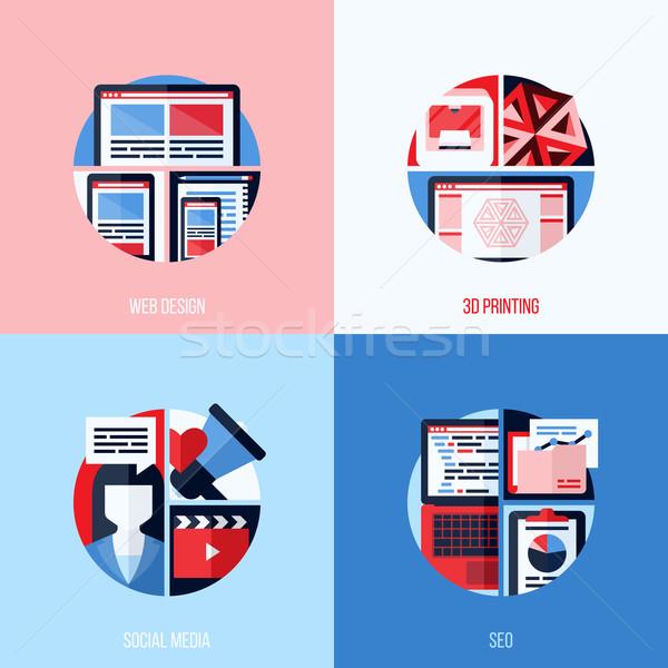 Moderno vetor ícones web design 3D impressão Foto stock © ussr