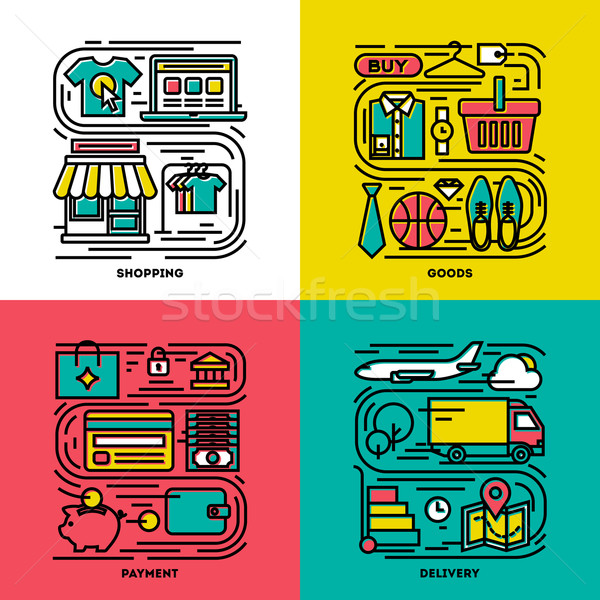 Flat line icons set of shopping, goods, payment, delivery Stock photo © ussr