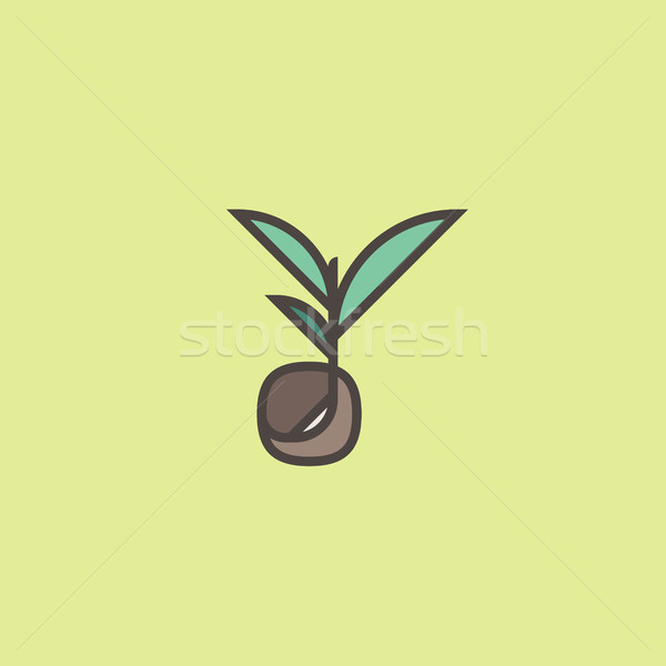 Modern line logo mark templates or icon with sprouting seed Stock photo © ussr