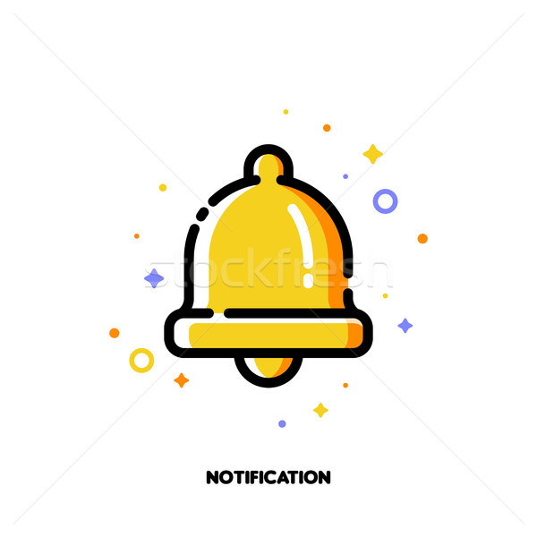 Icon of bell for alarm or notification concept. Flat filled outline Stock photo © ussr
