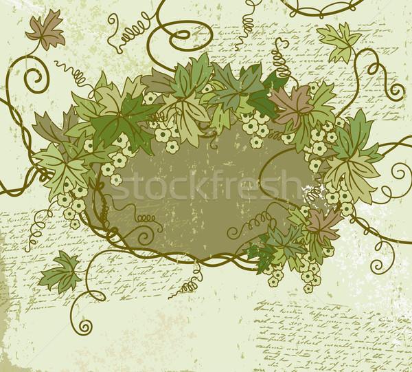 Stock photo: Grunge floral frame. Vector illustration.