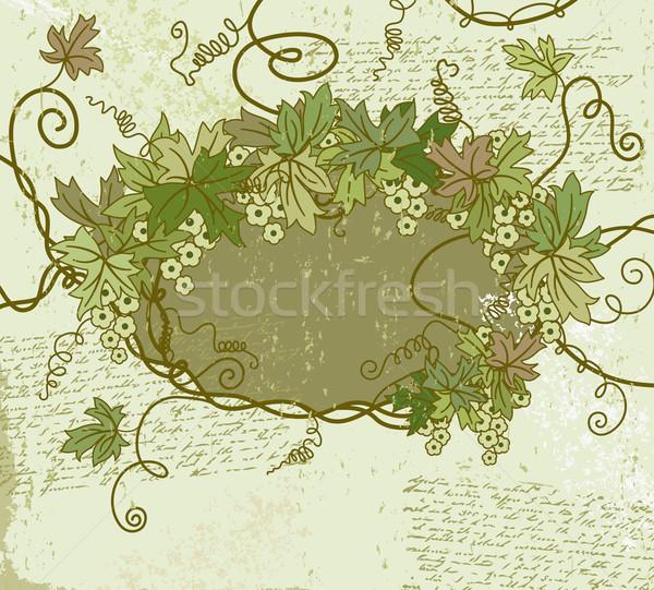 Stock photo: Grunge floral frame. Vector illustration.