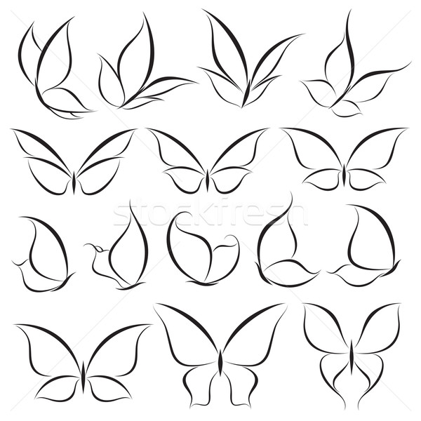 Butterflies. Vector logo template set. Elements for design. Icon set. Stock photo © ussr