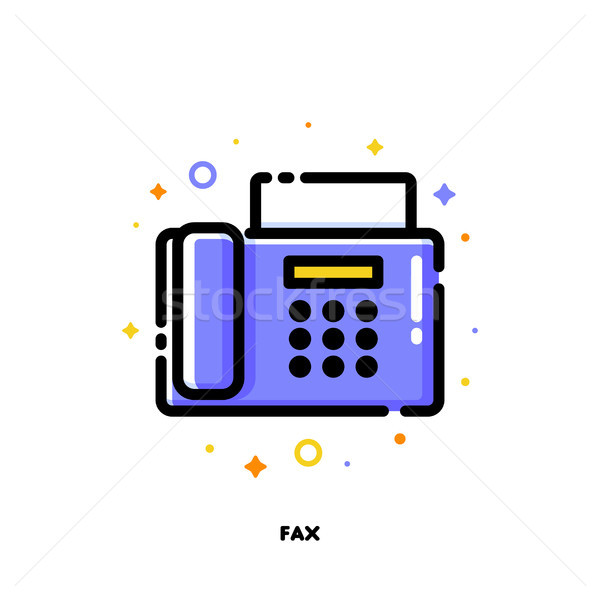 Icon of fax for office work concept. Flat filled outline style Stock photo © ussr