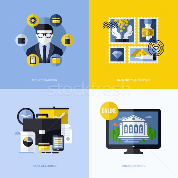Photo stock: Vecteur · design · bancaires · symboles · icônes · illustrations