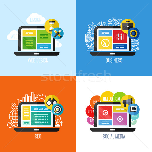 Modern flat vector concepts of web design, business, social media, SEO. Design elements set for webs Stock photo © ussr