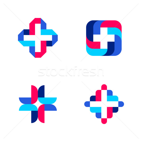 Colorful cross. Abstract medical logo mark templates or icons Stock photo © ussr