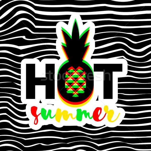 плакат печать геометрический ананаса горячей лет Сток-фото © ussr