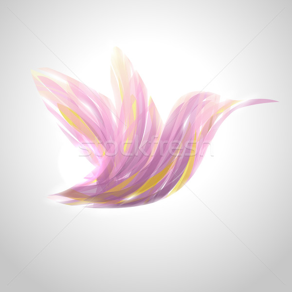 Shiny lavender striped hummingbird. Vector illustration. Stock photo © ussr