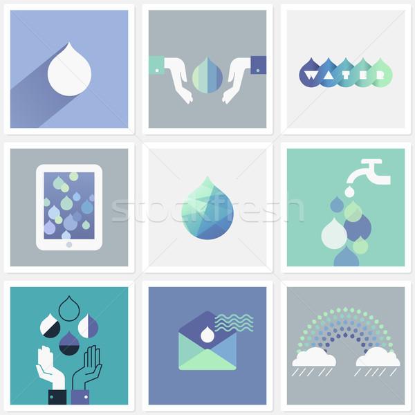 Foto stock: Gotas · água · conjunto · projeto · elementos · céu