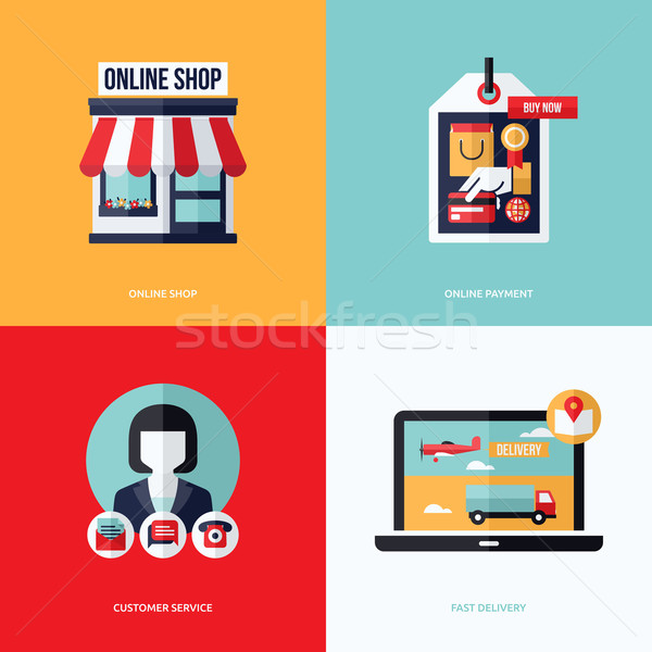 Flat vector design with e-commerce and online shopping icons and elements. Conceptual illustrations  Stock photo © ussr