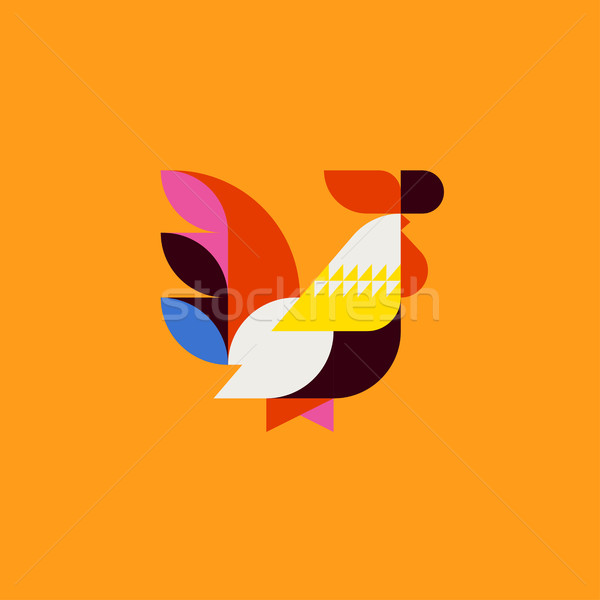 Silhouette cute patchwork style coq modernes Photo stock © ussr