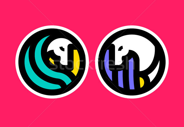 Colorful icon or logo template of horse Stock photo © ussr